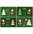 merry christmas and holly jolly set of postcards vector image vector image