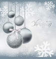 merry christmas card with silver baubles vector image vector image
