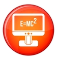 Monitor with Einstein formula icon flat style vector image vector image