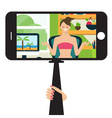 Monopod Selfie with cartoon woman vector image