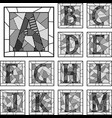 mosaic capital letters alphabet patterned lines vector image vector image