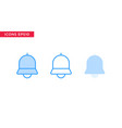 notification bell icon in line outline filled vector image