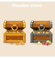opened treasure chest with coins and diamonds vector image vector image