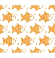 Orange grunge fishes seamless pattern vector image vector image