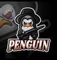 penguin esport mascot logo design vector image vector image