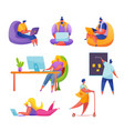 people workplace freelancer and office men vector image