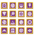 pizza icons set purple vector image vector image