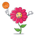 playing basketball pink flower character cartoon vector image vector image