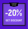sale 20 percent off get discount website button vector image vector image