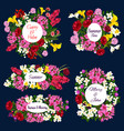 save date floral icons for wedding invitation vector image vector image