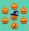 set of bright colorful halloween pumpkins face vector image vector image