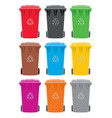 set of colorful recycling wheelie bin icons vector image vector image