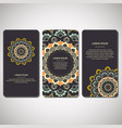 set of ornamental cards flyers with flower vector image vector image