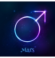 Shining blue neon light Mars astrological symbol vector image vector image