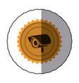 sticker of circular frame with contour sawtooth vector image vector image