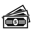 Three dollar bills icon simple style vector image vector image