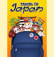 travel japan with bag full japan object vector image