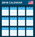usa calendar for 2018 scheduler agenda or diary vector image vector image