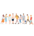 walking young people men and women in colorful vector image