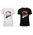 White and black t-shirt with basketball ball and vector image vector image