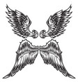 wings bird feather black white tattoo set 4 vector image vector image