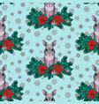 winter colorful seamless pattern with rabbit vector image vector image