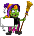 Witch Holding a Board With Cobwebs vector image vector image