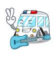with guitar ambulance mascot cartoon style vector image