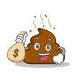 with money bag poop emoticon character cartoon vector image vector image