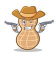 cowboy peanut character cartoon style vector image