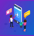 3d isometric voice message concept use your phone vector image vector image