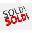 3d sold text design vector image vector image