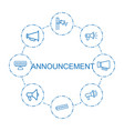 8 announcement icons vector image vector image