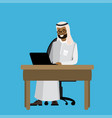 arabic businessman working at a laptop vector image vector image