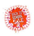back to school sale on orange splash vector image vector image