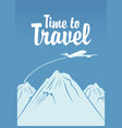 banner for air travel with aircraft in sky vector image vector image