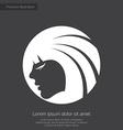 Beauty girl face premium icon white on dark backgr vector image vector image
