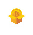 box carton with bitcoin isolated icon flat vector image