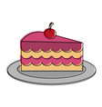 cake slice with cherry on top pastry icon image vector image vector image