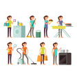 cartoon housewife in housework activity set vector image