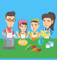 caucasian children cooking with parents vector image