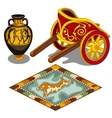 Chariot carpet and pitcher in the Greek style vector image