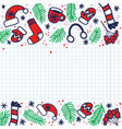 doodle christmas sock for gifts hat mittens vector image vector image