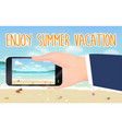enjoy summer vacation and smartphone capture beach vector image vector image