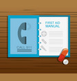 first aid manual with pill and drug vector image vector image