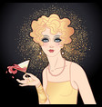 flapper girl holding cocktail glass with splash