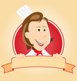 food banner - chef woman vector image vector image