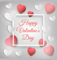 greeting card with red and white hearts vector image vector image