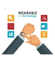 hands businessman wearable technology vector image vector image