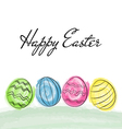 Happy Easter greetings card with colorful eggs vector image vector image